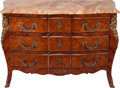 Furniture : French, A LOUIS XV-STYLE PARQUETRY BOMBE COMMODE WITH GILT BRONZE MOUNTS,late 19th century. 36 x 51 x 19 inches (91.4 x 129.5 x 48....