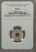 British West Africa, British West Africa: George V 1/10 Penny 1916-H MS63 NGC,...