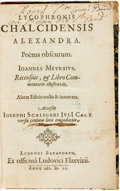 Miscellaneous:Ephemera, Lycophronis Chalcidensis Alexandra. Poema obscurum. Leiden[The Netherlands]: 1599. Spine covering detached. Very good. ...