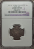 Colonials, 1783 SHLNG Chalmers Shilling, Short Worm -- Scratches -- NGC Details. Good. Breen-1011, W-1785, ...