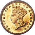 Proof Gold Dollars, 1887 G$1 PR63 Cameo PCGS. CAC....