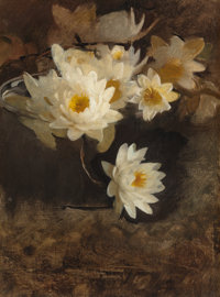 ABBOTT HANDERSON THAYER (American, 1849-1921) Water Lilies Oil on canvas 16 x 12 inches (40.6 x 3