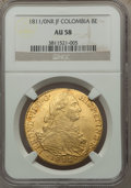 Colombia, Colombia: Ferdinand VII gold 8 Escudos 1811 NR-JF AU58 NGC,...
