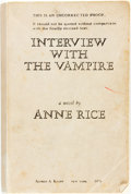 Books:Horror & Supernatural, Anne Rice. SIGNED. UNCORRECTED PROOF. Interview with theVampire. New York: Alfred A. Knopf, 1976. First Edition. ...