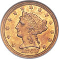 Liberty Quarter Eagles, 1850-D $2 1/2 MS61 NGC. Variety 13-N (formerly 13-M)....