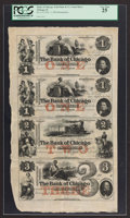 Obsoletes By State:Illinois, Chicago, IL- The Bank of Chicago/Seth Paine & Co. Bankers $1-$1-$2-$3 Nov. 1, 1852 UNL-UNL-UNL-UNL Uncut Sheet. ...
