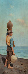 Fine Art - Painting, European:Antique  (Pre 1900), SALVATORE GUIDOTTI (Italian, b. 1836). The Water Carrier.Oil on panel. 13-1/2 x 5-1/4 inches (34.3 x 13.3 cm). Signed l...