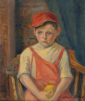 Fine Art - Painting, American:Modern  (1900 1949)  , LAURA SCHAFER PORTER (American, b. 1891). Boy with Apple.Oil on canvas. 18 x 22 inches (45.7 x 55.9 cm). Signed lower r...