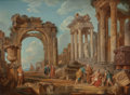 Fine Art - Painting, European:Antique  (Pre 1900), Manner of GIOVANNI PAOLO PANINI (Italian, 1690-1765). RomanCapriccio. Oil on canvas. 28-3/4 x 39 inches (73.0 x 99.1 cm...
