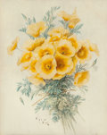 Fine Art - Work on Paper:Watercolor, PAUL DE LONGPRE (American, 1855-1911). Yellow Poppies, 1901.Watercolor on paper. 18-1/4 x 14-1/2 inches (46.4 x 36.8 cm...