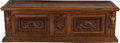 Furniture : Continental, AN ITALIAN WALNUT CASSONE, 17th century. 21 x 66 x 22 inches (53.3x 167.6 x 55.9 cm). ...