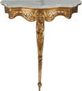 Furniture , A PAIR OF LOUIS XV-STYLE GILT WOOD AND WHITE MARBLE CONSOLES, late 19th century. 37 x 29-1/2 x 11-1/2 inches (94.0 x 74.9 x ... (Total: 2 Items)