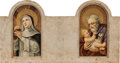 Decorative Arts, Continental:Other , AN ITALIAN MARBLE PLAQUE WITH PAINTED BIBLICAL IMAGERY, 19thcentury. 18 x 34 x 4 inches (45.7 x 86.4 x 10.2 cm). ...