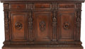 Furniture , AN ITALIAN RENAISSANCE-STYLE WALNUT CREDENZA, circa 1880. 48-1/4 x 81-1/2 x 21-1/2 inches (122.6 x 207.0 x 54.6 cm). ...