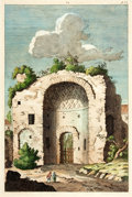 Books:Prints & Leaves, [Architecture]. Original Hand-Colored Engraving Depicting aEuropean Architectural Ruin. [N.p., n.d.]. ...