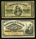 Canadian Currency: , DC-1c 25¢ 1870. DC-15a 25¢ 1900. ... (Total: 2 notes)