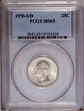 Washington Quarters: , 1950-S/D 25C MS65 PCGS. Well struck with substantial mint frost onboth sides and a rich, lustrous sheen. The overmintmark ...