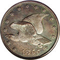 1855 P1C Flying Eagle Cent, Judd-168 Original, Pollock-193, R.4, MS65 Brown NGC. A hook-neck eagle featured on the obver...