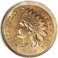 1859 P1C Indian Cent, Judd-228, Pollock-272, R.1, MS65 PCGS. A transitional pattern with the obverse of 1859 paired with...