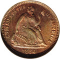 Patterns: , 1864 H10C Half Dime, Judd-378, Pollock-446, Low R.7, PR67 Red and Brown NGC. Regular issue die trial. Struck in copper with...