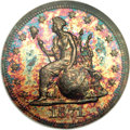 Patterns: , 1871 10C Ten Cents, Judd-1084, Pollock-1220, Low R.7, PR66 NGC. Ex:Garrett. On the obverse, Liberty is seated facing left ...