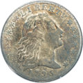 Early Half Dimes: , 1795 H10C AU58 ANACS. V-6, LM-9, R.4. A scarce variety noted forits widely spaced IB in LIBERTY and a leaf tip below the c...