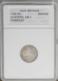 Early Half Dimes: , 1797 H10C 15 Stars--Damaged--ANACS. VG8 Details. V-2, LM-1, R.3.This moderately wavy early type coin is granular across th...