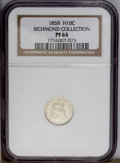 Proof Seated Half Dimes: , 1858 H10C PR64 NGC. Ex: Richmond Collection. Nearly brilliant withdeep, watery reflectivity in the fields. A few hairlines...