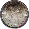 Barber Half Dollars: , 1905 50C MS67 PCGS. This is a coin for the ages, one that is bothSuperb in color and surfaces. Note the interplay of i...