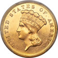 Three Dollar Gold Pieces, 1886 $3 MS63 PCGS. CAC....