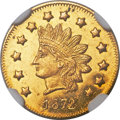 California Fractional Gold , 1872 $1 Indian Round Dollar, BG-1208, Low R.6, MS63 Prooflike NGC....