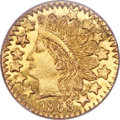 California Fractional Gold , 1868 25C Indian Round 25 Cents, BG-890, High R.5, MS65 ProoflikeNGC....