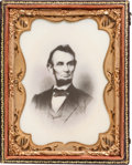 Photography:Ambrotypes, Abraham Lincoln: Quarter Plate Photograph on Milk Glass....