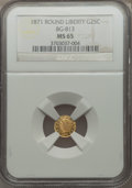 California Fractional Gold , 1871 25C Liberty Round 25 Cents, BG-813, R.3, MS65 NGC. NGC Census:(5/2). PCGS Population (12/4)....