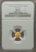California Fractional Gold: , 1874 25C Indian Round 25 Cents, BG-876, Low R.4, MS65 NGC. PCGSPopulation (13/0). ...