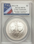Modern Issues, 2013-W $1 Five-Star Generals Silver Dollar, Marshall and Eisenhower, Profile Collection MS70 PCGS. PCGS Population (30). NG...