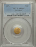 California Fractional Gold: , 1874 50C Indian Round 50 Cents, BG-1055, High R.4, MS64 PCGS. PCGSPopulation (8/0). ...