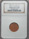 Civil War Merchants, 1863 Nye & Youmans, Fond Du Lac, WI, MS64 Red and Brown NGC.Fuld-WI220H-1a. Fuld Plate Coin.. Ex: World Exonumia MailBid...
