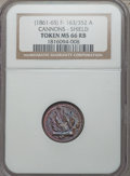 Civil War Patriotics, Undated Cannons - Shield MS66 Red and Brown NGC. Fuld-163/352a....