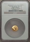 California Gold Charms, 1849 Round California Gold Token, Indian, Bear, MS65 NGC. 0.43gm. 12.95mm....