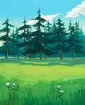 Animation Art:Painted cel background, Heidi's Song Master Production Background Animation Art (Hanna-Barbera, 1983)....