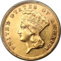 Three Dollar Gold Pieces, 1877 $3 AU55 PCGS....