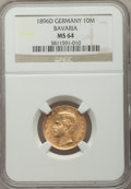 German States:Bavaria, German States: Bavaria. Otto gold 10 Mark 1896-D MS64 NGC,...