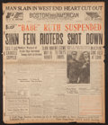 """Baseball Collectibles:Publications, 1917 """"Babe Ruth Suspended"""" Boston American Newspaper...."""