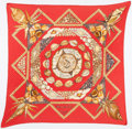 "Luxury Accessories:Accessories, Hermes Red & Brown ""Rocaille,"" by Valerie Dawlat DumoulinPlisse Silk Scarf. ..."