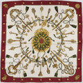"Luxury Accessories:Accessories, Hermes 90cm Burgundy & White ""Les Clefs,"" by Caty Latham SilkScarf. ..."