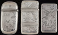 Silver Smalls:Match Safes, THREE GORHAM SILVER MATCH SAFES, Providence, Rhode Island, circa1865-1882. Marks to all: (lion-anchor-G), STERLING, L210;...(Total: 3 Items)