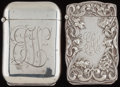Silver Smalls:Match Safes, TWO BATTIN SILVER HIDDEN PHOTO MATCH SAFE, Newark, New Jersey,circa 1900. Marks to both: (B-trident), STERLING, PAT. MARC...(Total: 2 Items)