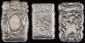 Silver Smalls:Match Safes, THREE AMERICAN SILVER MATCH SAFES, circa 1900. Marks to all:STERLING; 4371; 9742. 2-5/8 inches high (6.7 cm)(largest)... (Total: 3 Items)