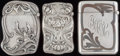 Silver Smalls:Match Safes, THREE KERR SILVER AND MIXED METALS MATCH SAFES, Newark, New Jersey,circa 1900. Marks to all: (fasces), STERLING; 967; 100...(Total: 3 Items)